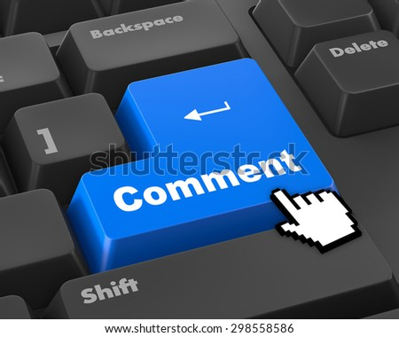 comment enter key 3d render - stock photo