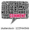 Comment in word cloud compose in bubble talk shape - stock photo