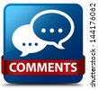 Comments (Talking icon) glassy red ribbon on glossy blue square button - stock photo