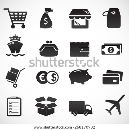 Commerce and delivery icon set. - stock photo