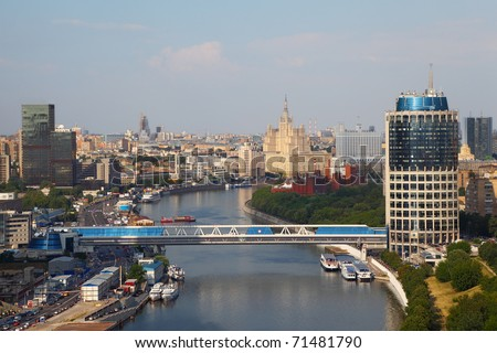 Commerce and pedestrian bridge in Moscow International Business Center, panorama of Moscow, Russia - stock photo