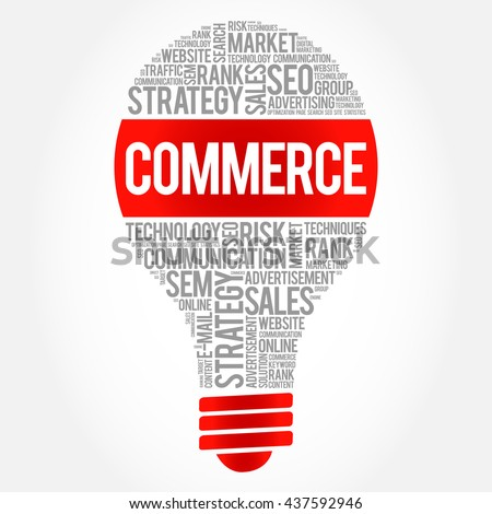 COMMERCE bulb word cloud, business concept - stock photo