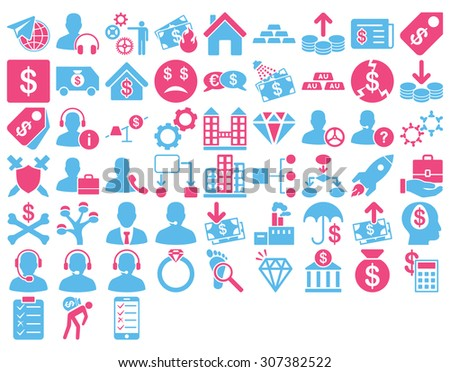 Commerce Icon Set. These flat bicolor icons use pink and blue colors. Glyph images are isolated on a white background.
