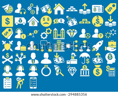 Commerce Icon Set. These flat bicolor icons use yellow and white colors. Glyph images are isolated on a blue background.  - stock photo