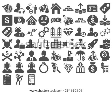 Commerce Icon Set. These flat icons use gray color. Glyph images are isolated on a white background.  - stock photo