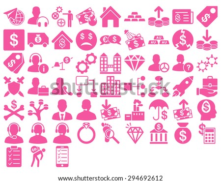 Commerce Icon Set. These flat icons use pink color. Glyph images are isolated on a white background.  - stock photo