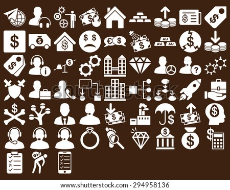 Commerce Icon Set. These flat icons use white color. Glyph images are isolated on a brown background.  - stock photo