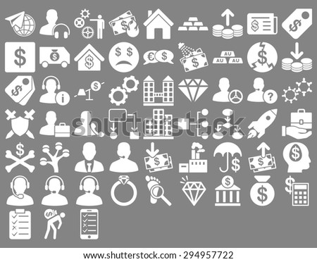 Commerce Icon Set. These flat icons use white color. Glyph images are isolated on a gray background.  - stock photo