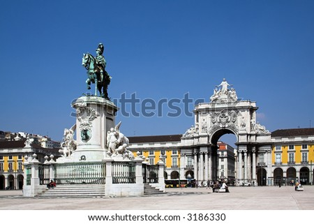 Commerce Square in Lisbon , Portugal - stock photo