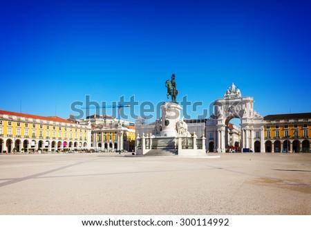 Commerce square (Praca do Comercio) in Lisbon, Portugal, toned - stock photo