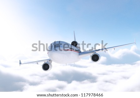 Commercial Airliner, CG render plane and clouds/Commercial Airliner in Flight/CG - stock photo
