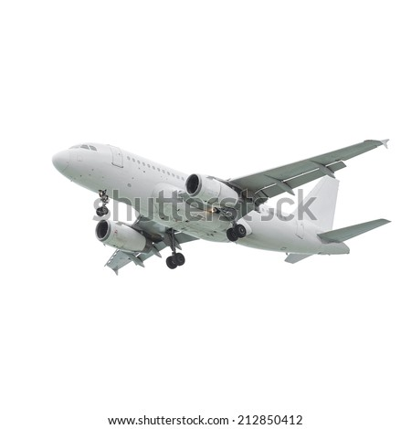 Commercial airliner landing isolated on white background - stock photo