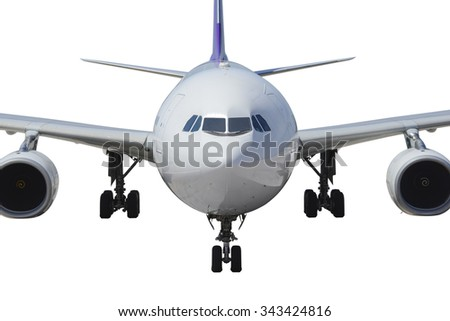 Commercial airplane front view - stock photo