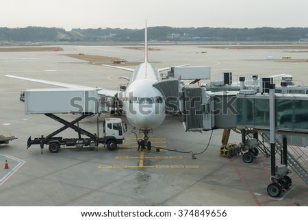 Commercial airplane on loading