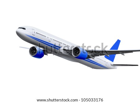commercial airplane on white background - stock photo