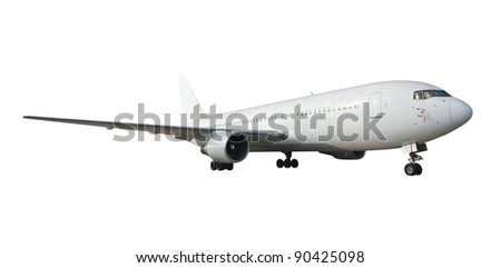 Commercial airplane on white  with clipping path - stock photo