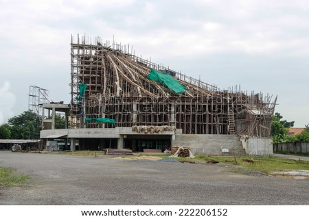 Commercial Building Construction with a white sky - stock photo