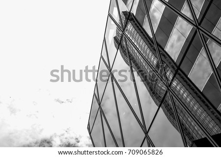 commercial building in Hong Kong with B&W color