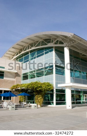 Commercial building un the middle of the day - stock photo