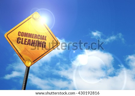 commercial cleaning, 3D rendering, glowing yellow traffic sign  - stock photo