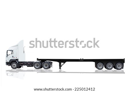 commercial delivery cargo truck with trailer blank for design isolated on white background with clipping path - stock photo