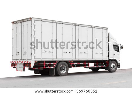 Commercial delivery truck isolated on a white background with clipping path - stock photo