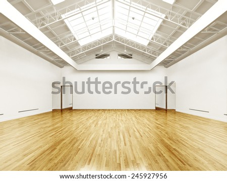 Commercial empty gallery interior with hard wood floors and skylights. Photo realistic 3d rendered illustration - stock photo