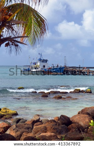 commercial fishing boat Brig Bay harbor Big Corn Island Nicaragua Central America - stock photo