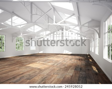 Commercial interior with hard wood floors and skylights.Photo realistic 3d rendered illustration - stock photo