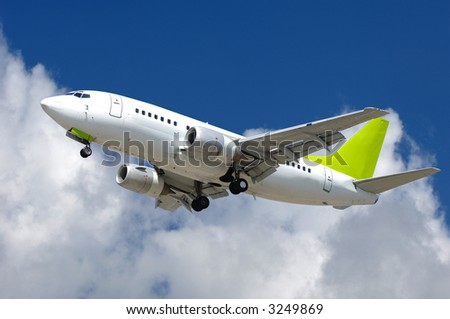 Commercial jet plane is about to land at airport. - stock photo