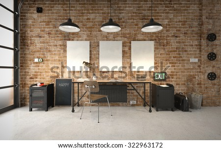Commercial office in an industrial interior - stock photo