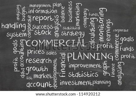 commercial planning system - word cloud - stock photo