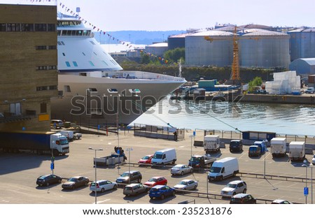 Commercial port in the sunshine day in Stockholm, Sweden - stock photo