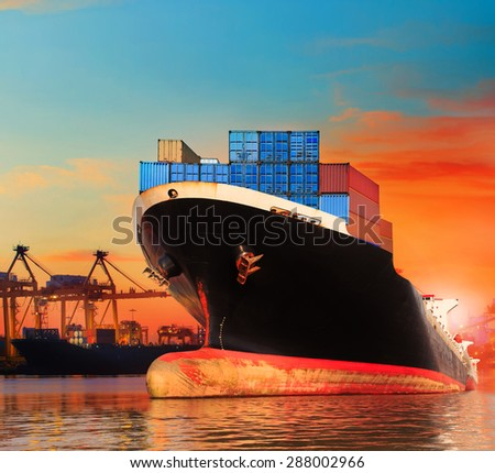 commercial ship in import,export pier use for vessel ,transport business and cargo ,freight ,shipping  - stock photo