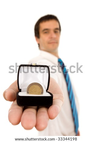 Commitment to success - success and money business concept, isolated - stock photo