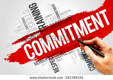 Commitment word cloud, business concept - stock photo