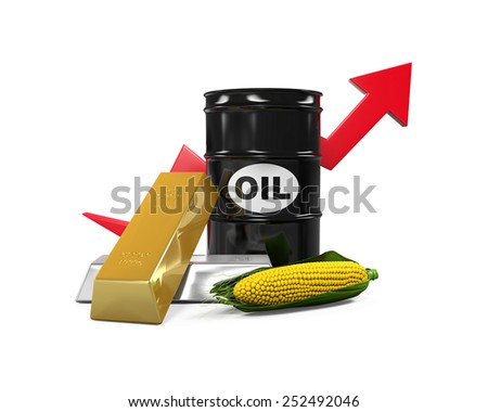 Commodities - Oil, Corn, Gold and Silver - stock photo