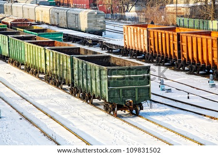 Commodity cars on rails. The top view - stock photo