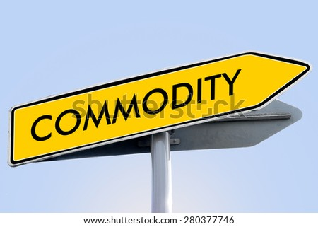 COMMODITY word on yellow roadsign concept - stock photo