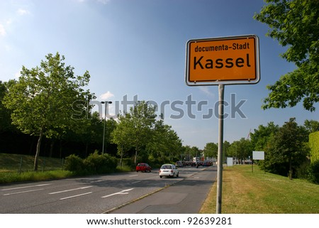 Common city entrance sign of Kassel, Germany - stock photo