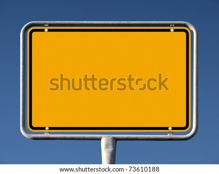 Common german city sign with removed name - stock photo