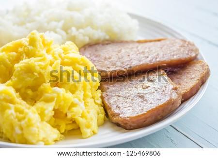 Common Hawaiian breakfast of spam, eggs and rice - stock photo