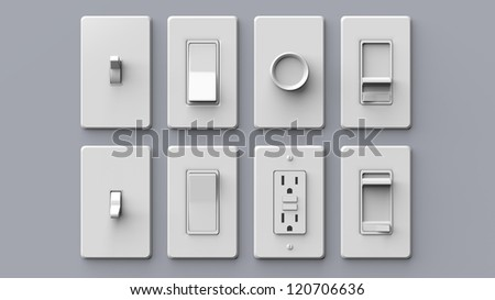 Common Household Electrical Switches Isolated - stock photo