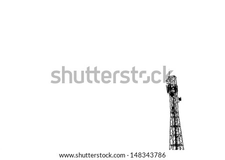 Communication antenna tower on white background - stock photo