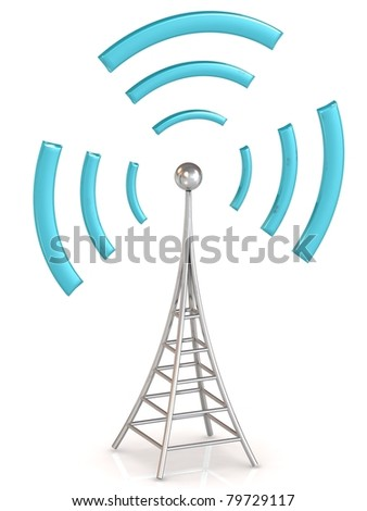 Communication antenna tower on white background