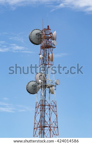 communication antenna tower with blue sky.