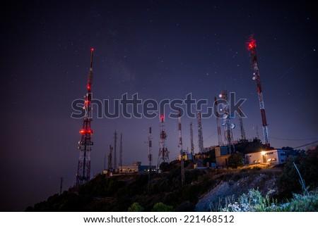 communication antennas - stock photo