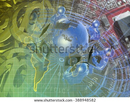 Communication background with map, mans and mail signs. - stock photo