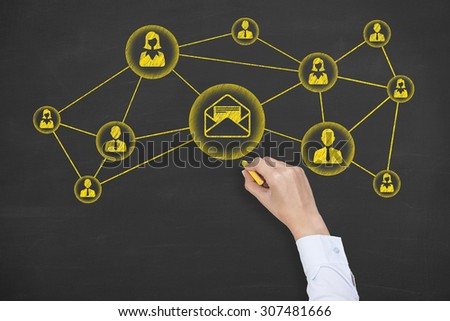 Communication Concept Drawing Work on Blackboard  - stock photo