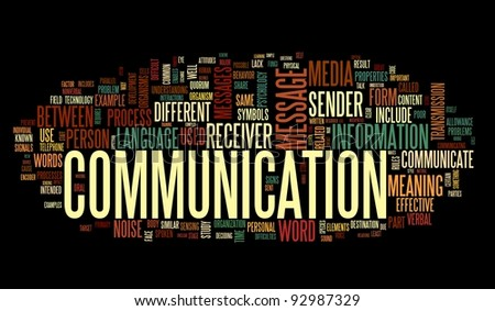 Communication concept in word tag cloud isolated on black background - stock photo